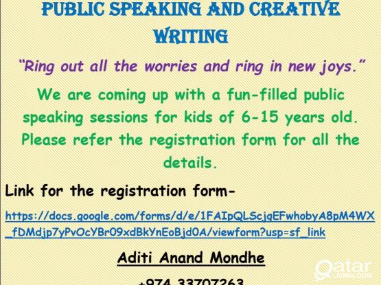 WORKSHOP ON PUBLIC SPEAKING AND CREATIVE WRITING FOR 6-15 YEARS OLD.