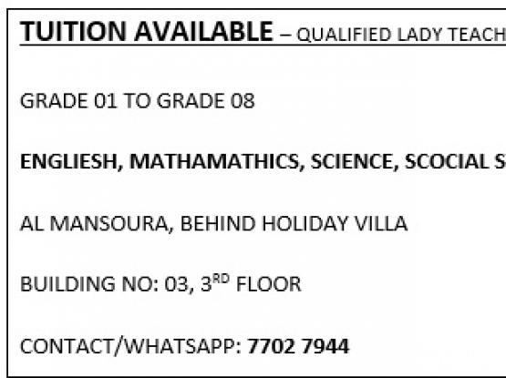 TUITION AVAILABLE NEAR HOLIDAY VILLA – QUALIFIED LADY TEACHER