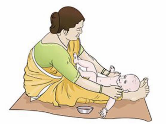 The Traditional indian massage & Bath Service for New born baby