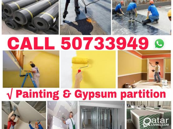 Call 50733949any design of gypsum partition house decor painting service for more information
