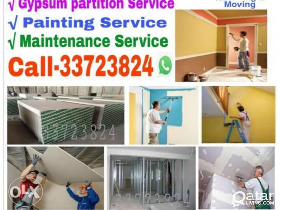 Call us 33723824 Gypsum Partition,painting and Wallpaper fixing & Maintenance Servicing