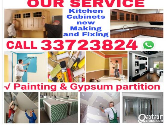 Gypsum partition and painting Service Call 33723824 We do kitchen cabinets new making & fixing.