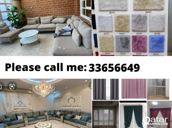 We make new sofa and Repairing, carpet selling fixing, curtains selling and fixing, any kinds of bla