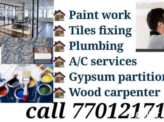 tiles fixing - painting - carpenter - gypsum - - parkia wood =77012171