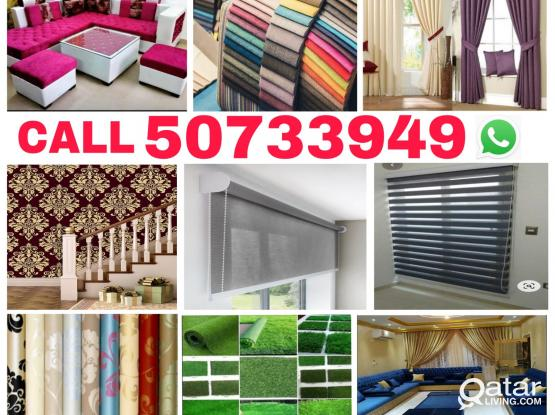 Call us 50733949 Sofa,Curtains new making and Chair clothes change,wallpaper fixing & painting Service