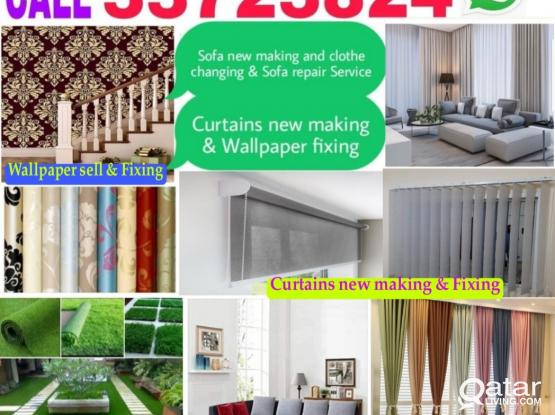 Call us 33723824 Sofa,Curtains new making and Chair clothes change,wallpaper fixing & painting service.