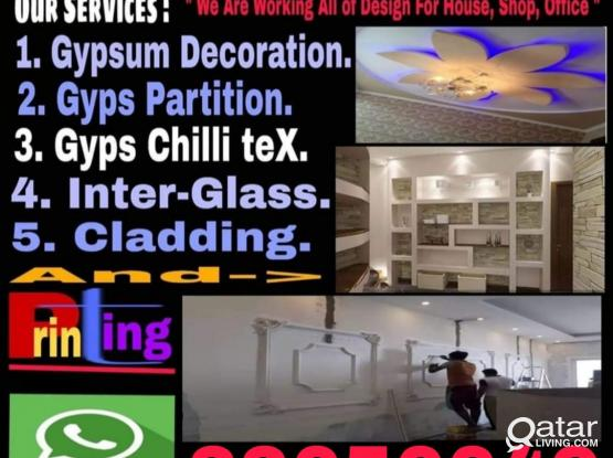 any design of gypsum partition house decor painting service for more information call 33656649