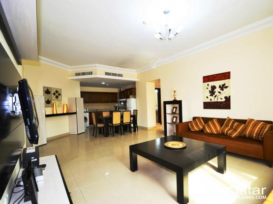 2-bed serviced apartments with pool and gym