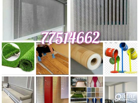 Roller Curtain, Vertical, Blinds, Carpet, Sofa. PVC Vinyl, Grass Carpet. New Making & Fixing