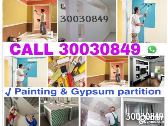 Call 30030849 Gypsum partition,house painting and maintenance Service