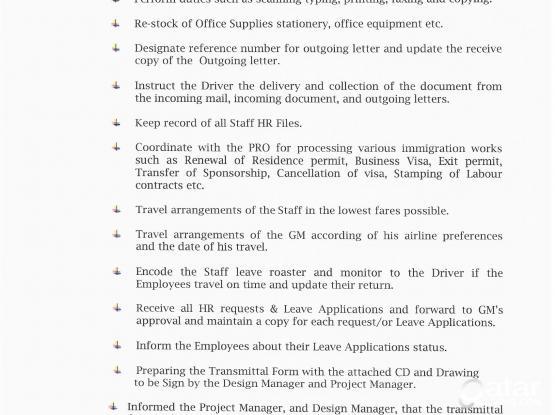 Secretary, HR Coordinator, Document Controller | Qatar Living