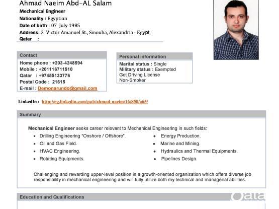 Mechanical Engineer - Ahmad Naeim | Qatar Living