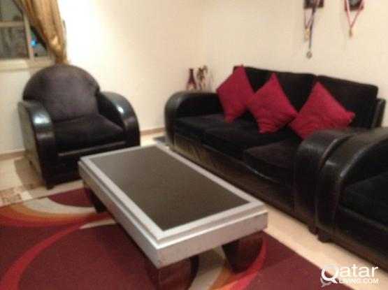 Black color sofa set with marble top tea table/ TV cabinet- carpet free