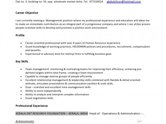 Experienced MBA graduate seeking suitable position