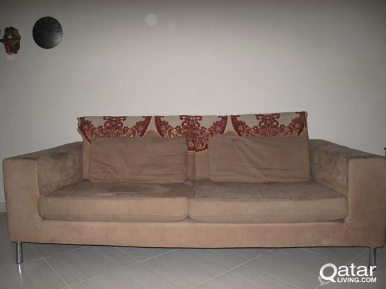 HomeCentre 3 Seater + 2 Seater Suede leather Sofa