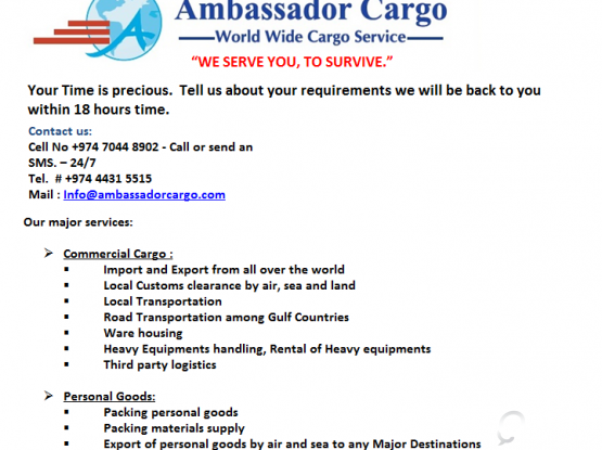 Door To Door Cargo Services all over the world