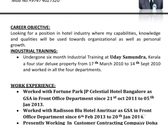Looking for Job In Front Office Department | Qatar Living