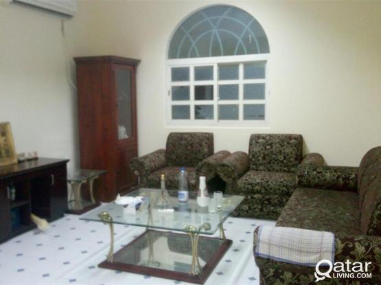 Good condition very specious 1 bhk villa apartment without gypsum partition Available with big kitchen at azizia al waab near villagio and Hyatt plaza
