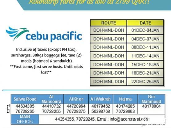 @2799 QR only! DOHA TO MANILA (roundtrip/direct flight)**