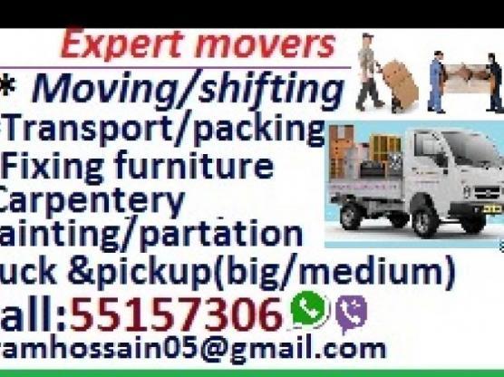 Good price, moving shifting carpenter pickup & transportation services =55157306
