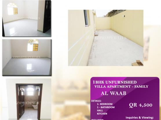 1BHK Unfurnished Apartment for Rent (FAMILY)-Al Wa