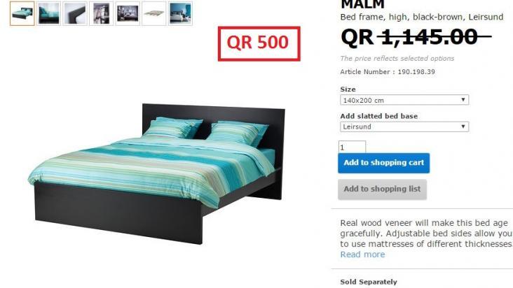 Ikea Bed Frame 180x200cm High Black Brown Qatar Living