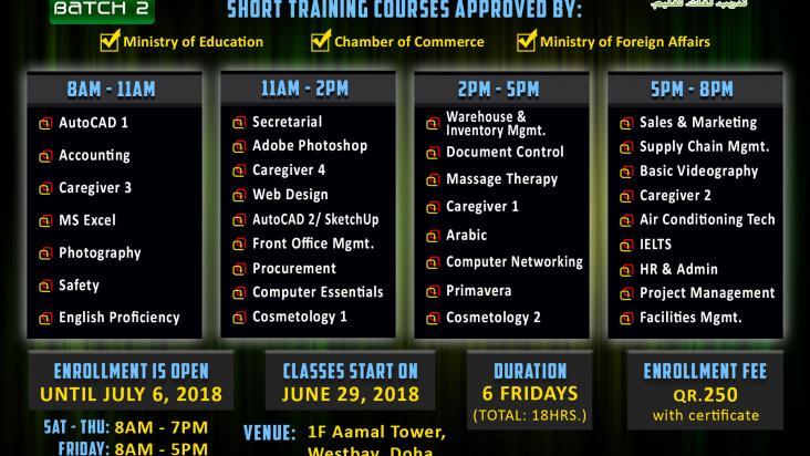 short training courses for filipinos qatar living