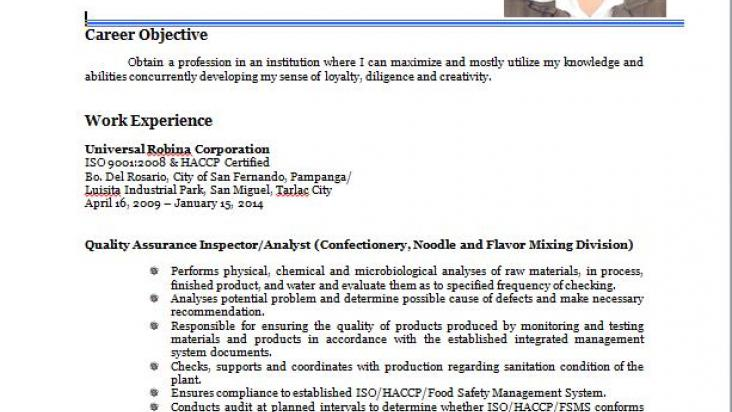Food Chemist/Quality Control and Assurance/HACCP,ISO(QMS),HALAL