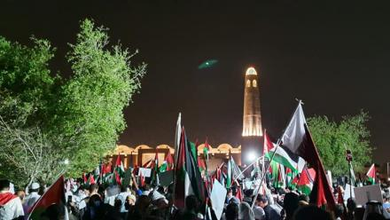WATCH: Thousands of Qatar residents attend solidarity stand held in support of Palestine