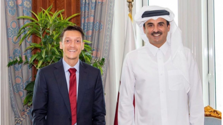 HH the Amir welcomes former Real Madrid and Arsenal football star Mesut Ozil