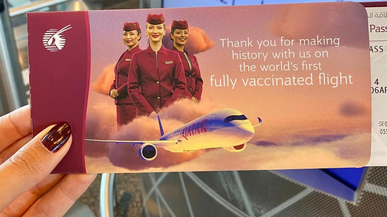 Qatar Airways operated the world's first fully COVID-19 vaccinated flight