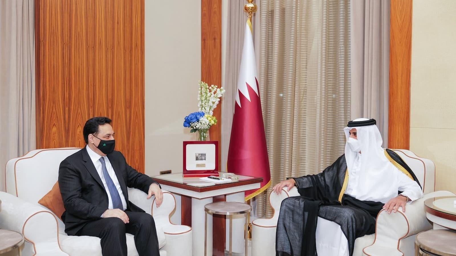 HH the Amir meets Lebanese Caretaker Prime Minister