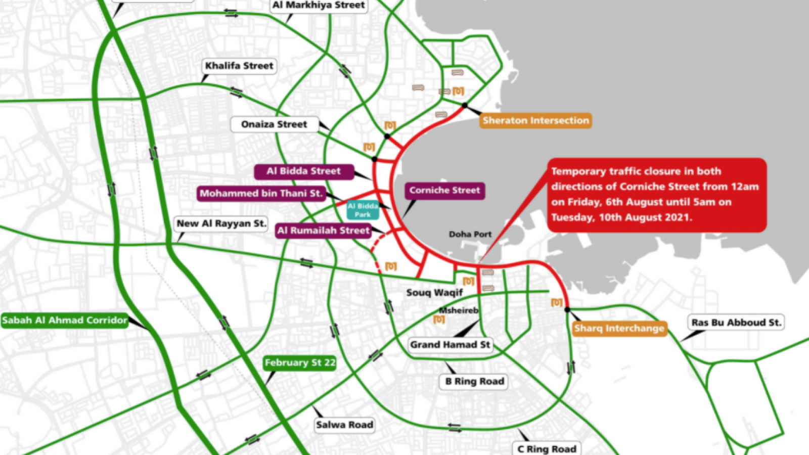 Ashghal announces temporary closure of Corniche street from August 6-10