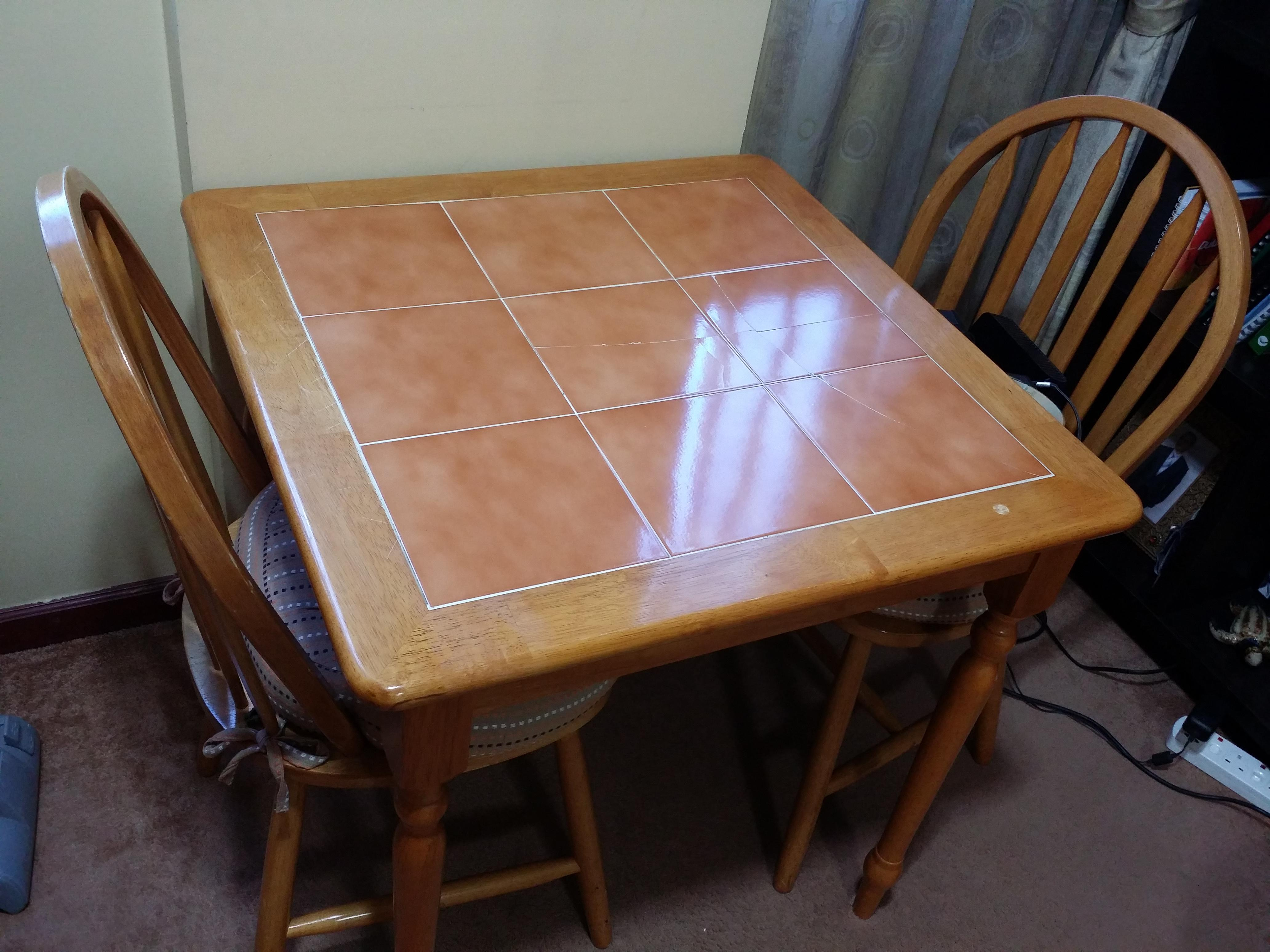 Kitchen Table with 2 Chairs and Accessory for Sale