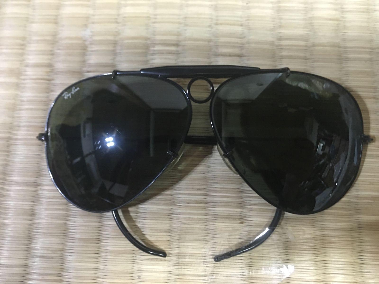 d5c9c24eb8e Vintage B L Ray Ban USA Aviator Sunglasses Black G-15 Lens Shooter ...