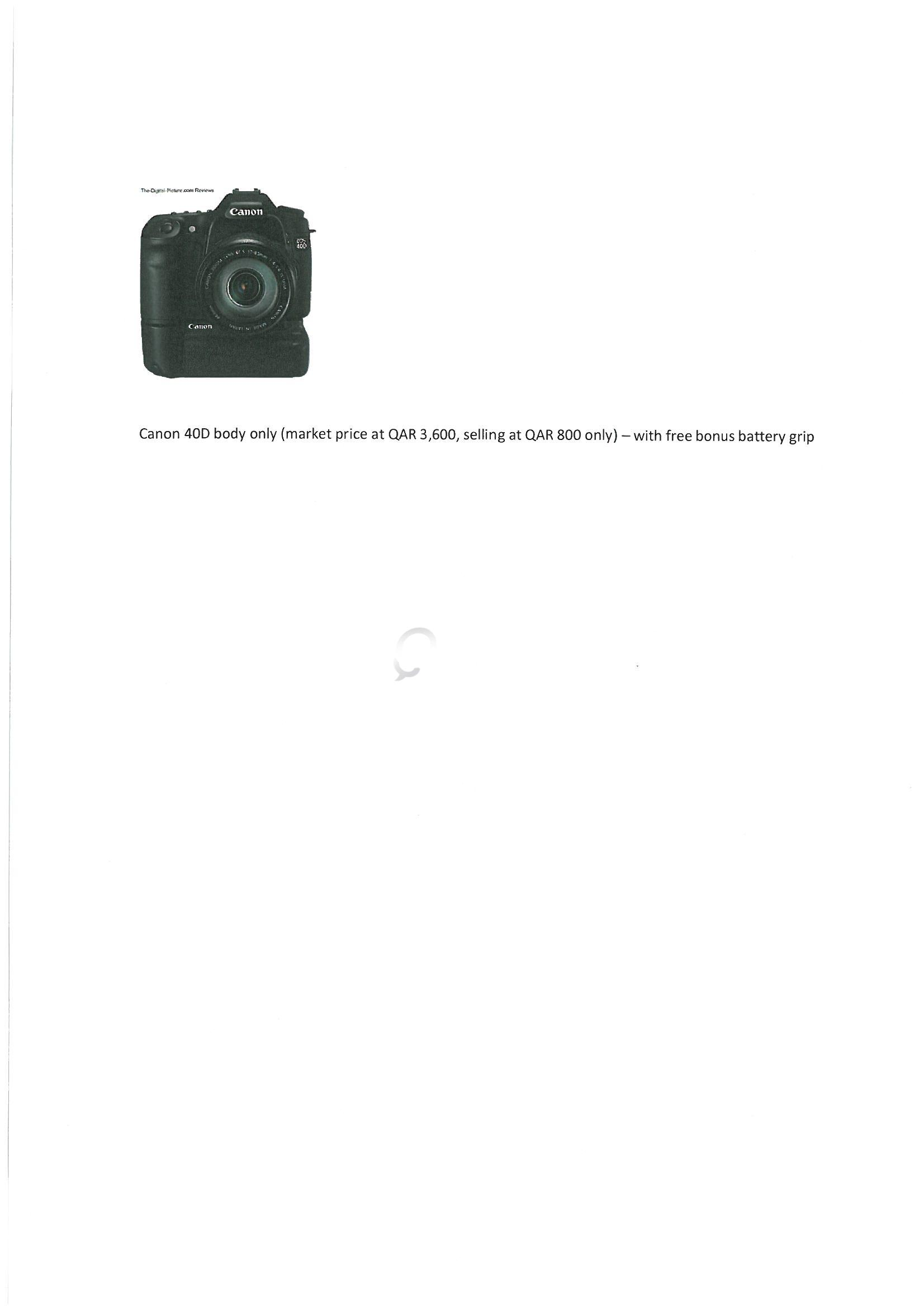 Canon 40D (Body only) DSLR with free battery grip
