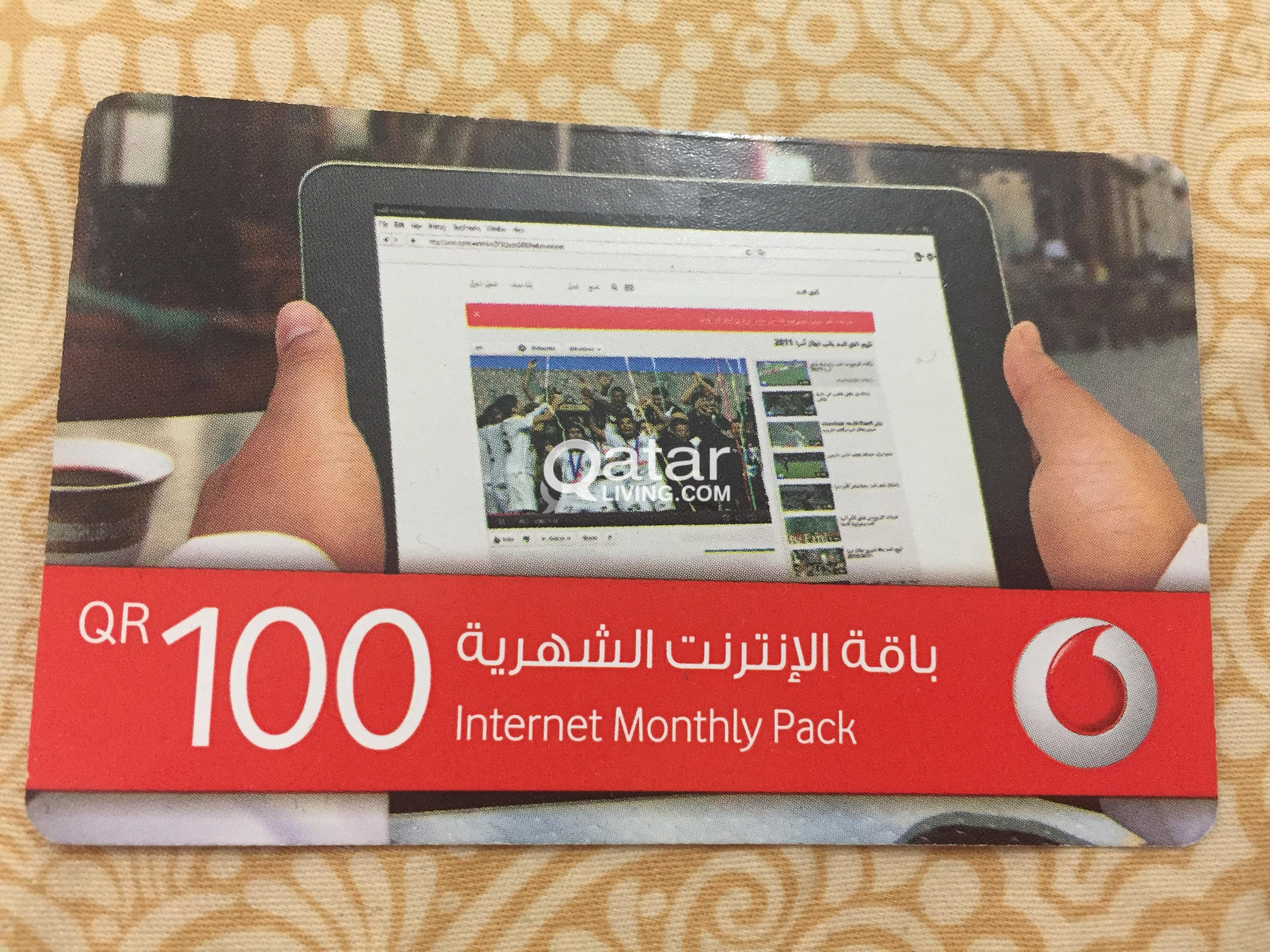 Vodafone Monthly Internet Pack of QAR 100 selling for QAR 85