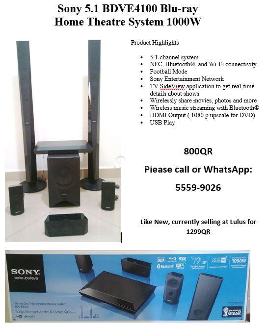 Sony 5.1 BDVE4100 Blu-ray Home Theatre System 1000W | Qatar Living