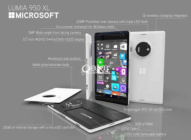 "Microsoft Lumia 950 XL - Stunning 5 7"" Quad HD display"