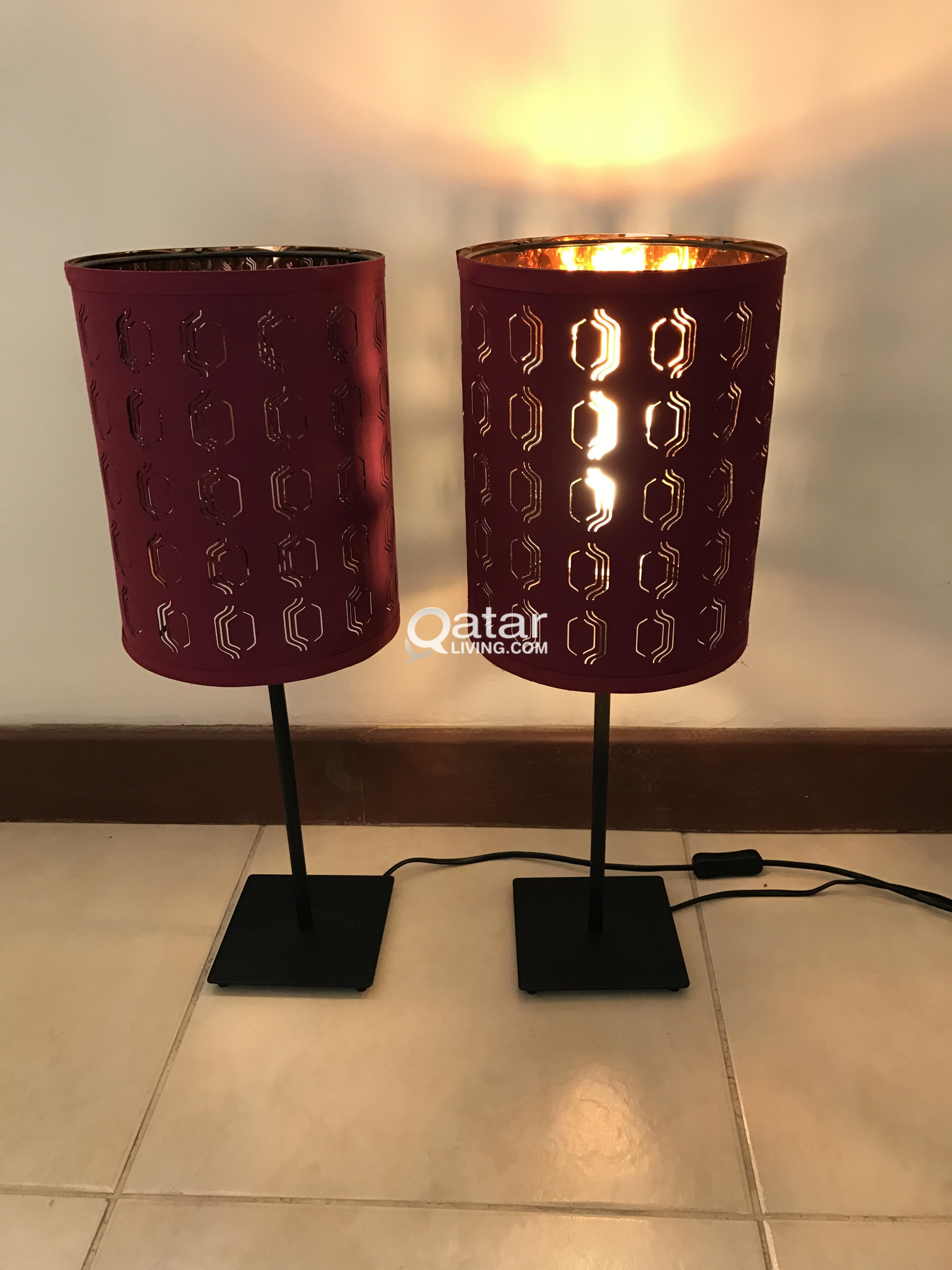 Two black ikea hemma table lamps with pinkcopper nymo lamp shades title title title title information two black ikea hemma table lamps aloadofball Choice Image