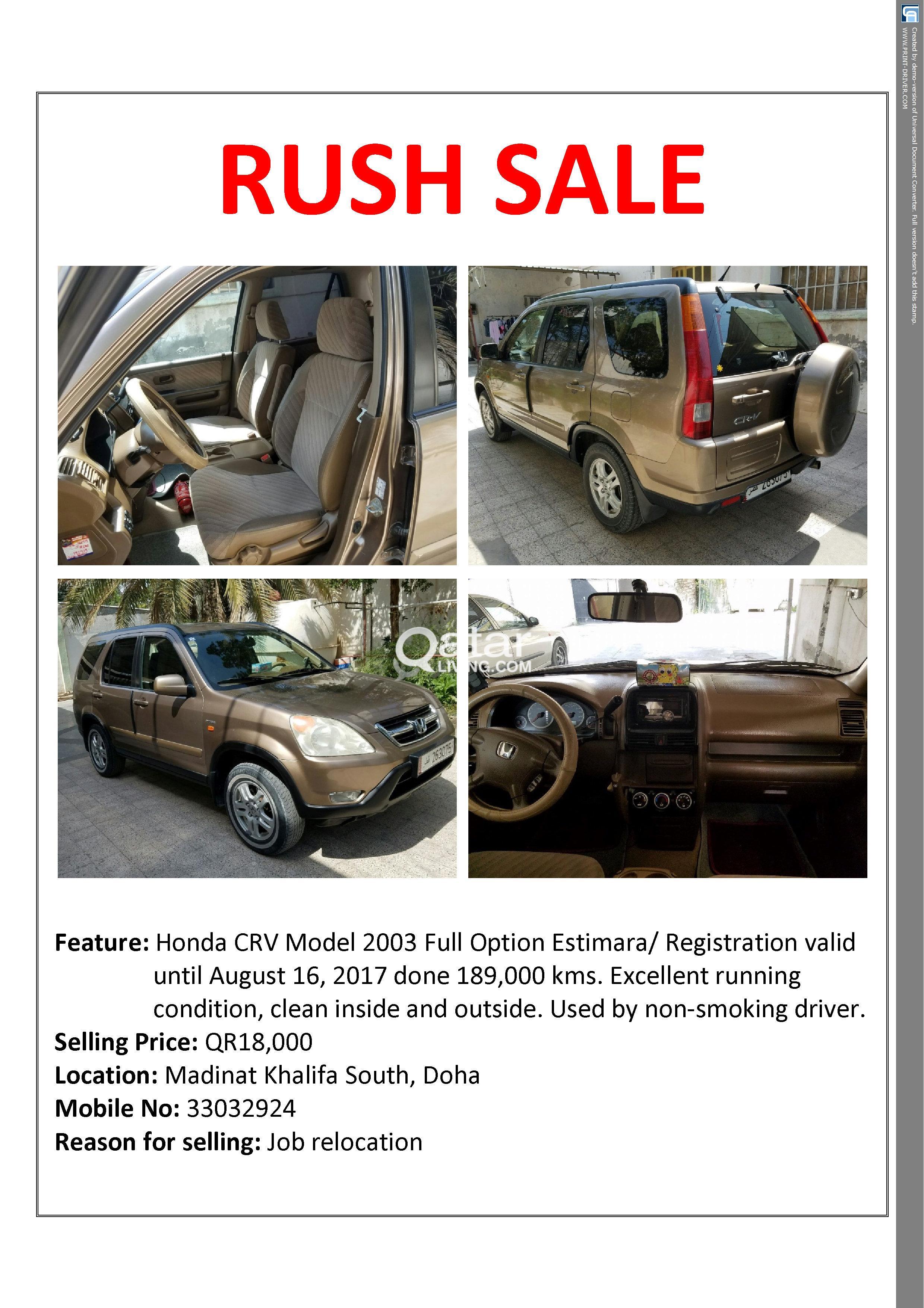 Honda CRV Model 2003 Full option | Qatar Living