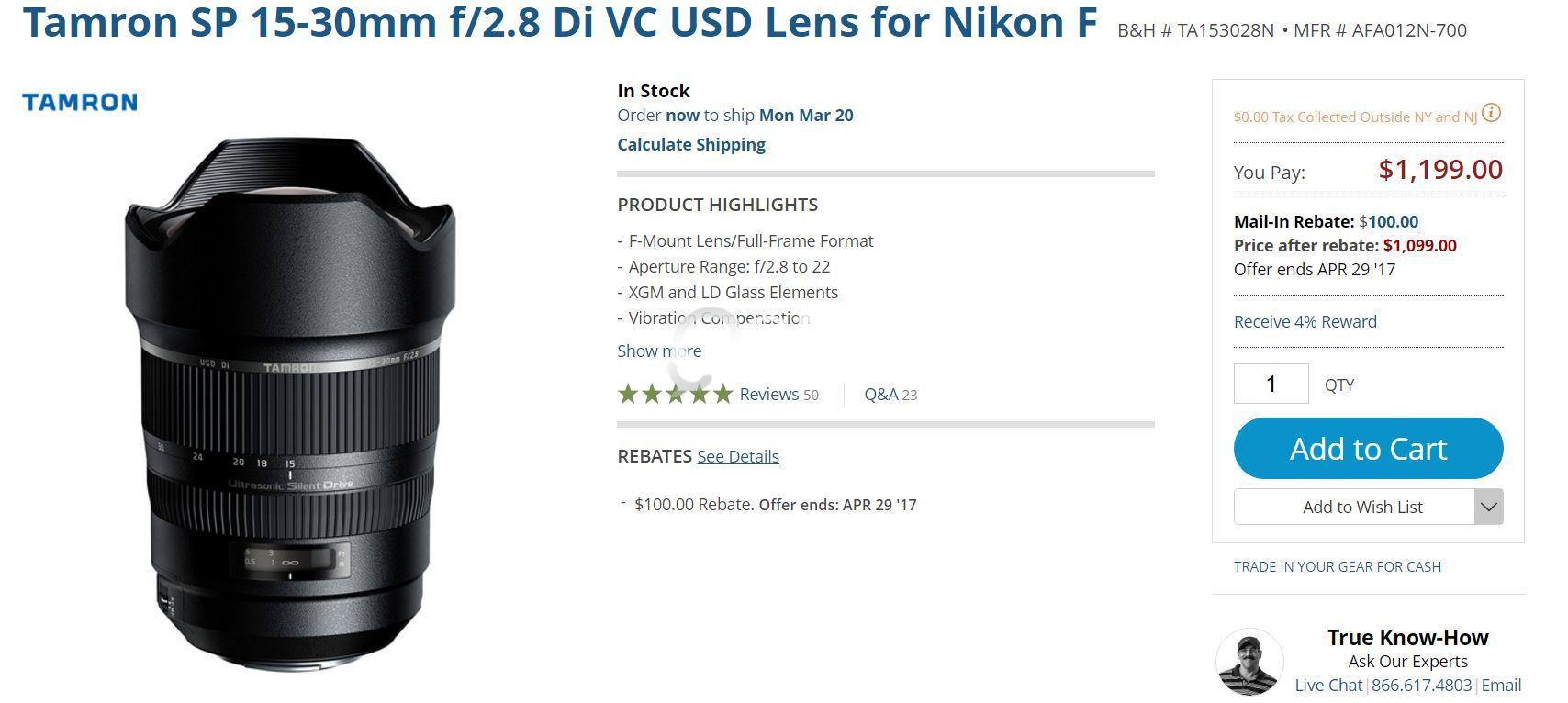 Tamron SP 15-30mm f/2.8 Di VC USD Lens for Nikon F | Qatar Living