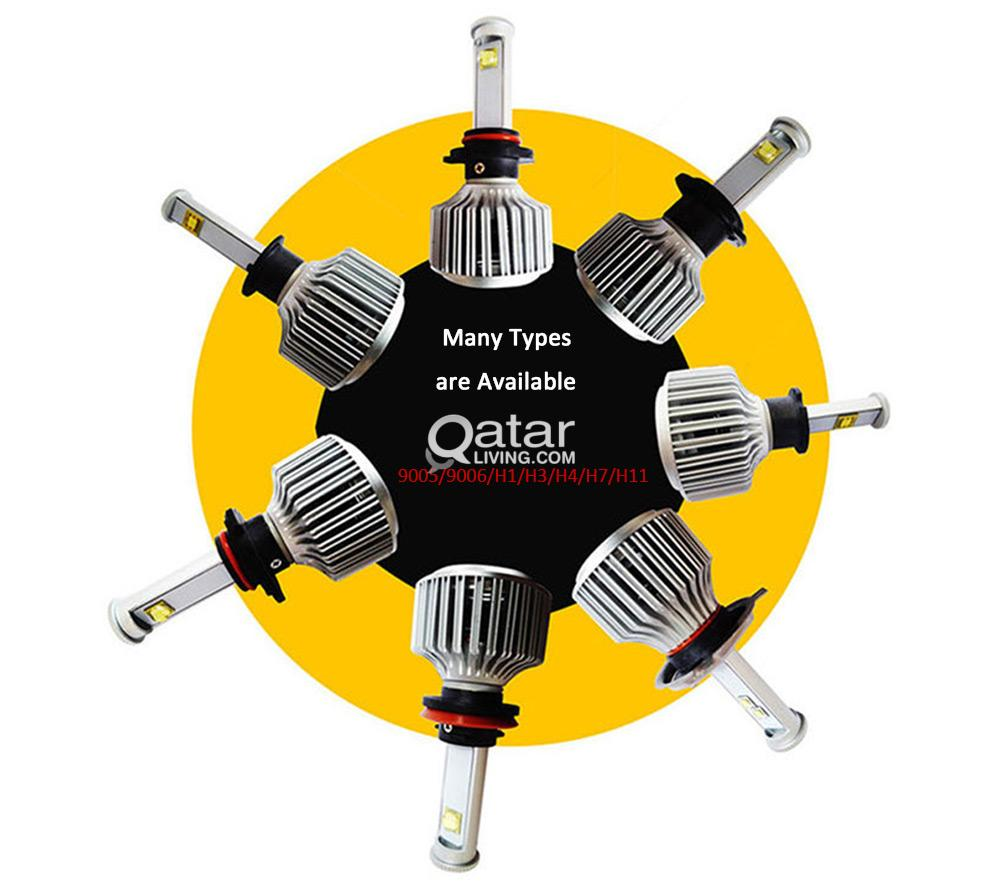9006 / 9007 / h1 / h4 2pcs - 6000k car led headlight bulbs 60w 7200lm   |  qatar living