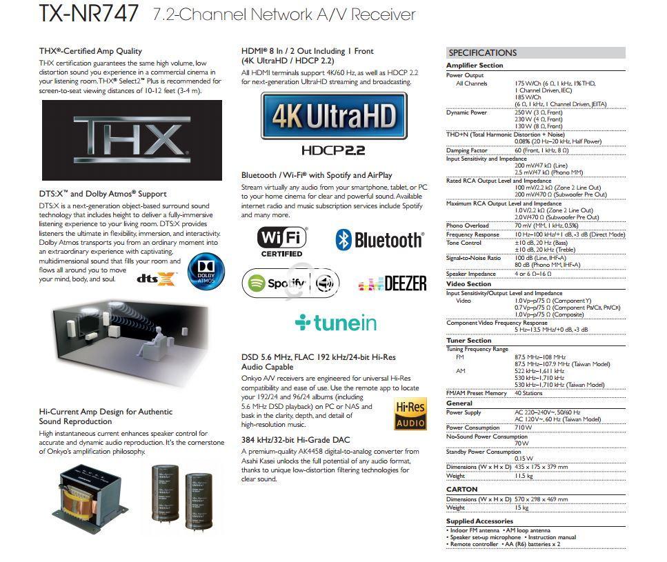 Onkyo TX-NR747 Dolby Atmos A/V AMPLIFIER/RECEIVER | Qatar Living
