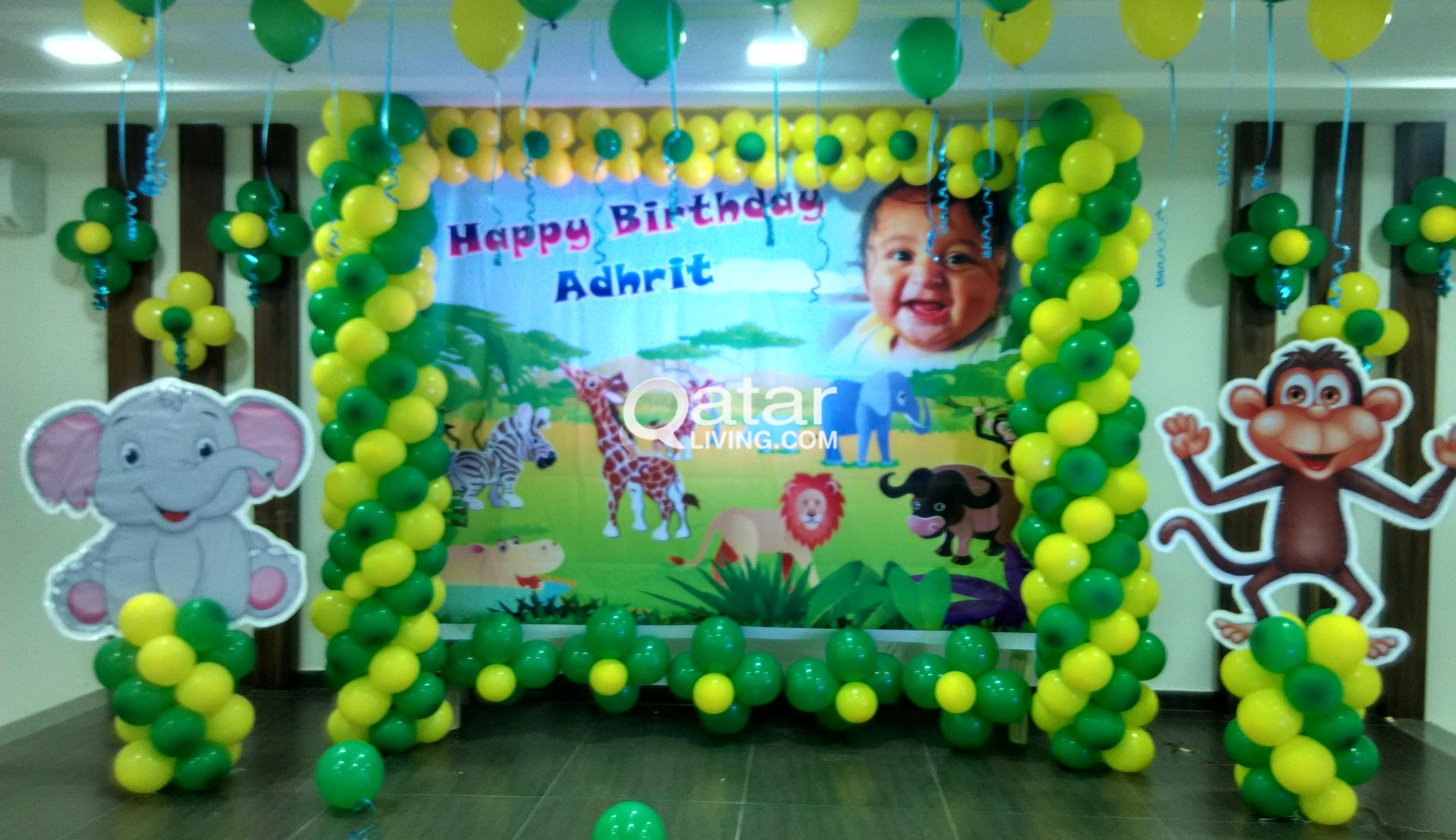 Knk balloon decorations work call 33662383 qatar living for 1 year birthday decoration