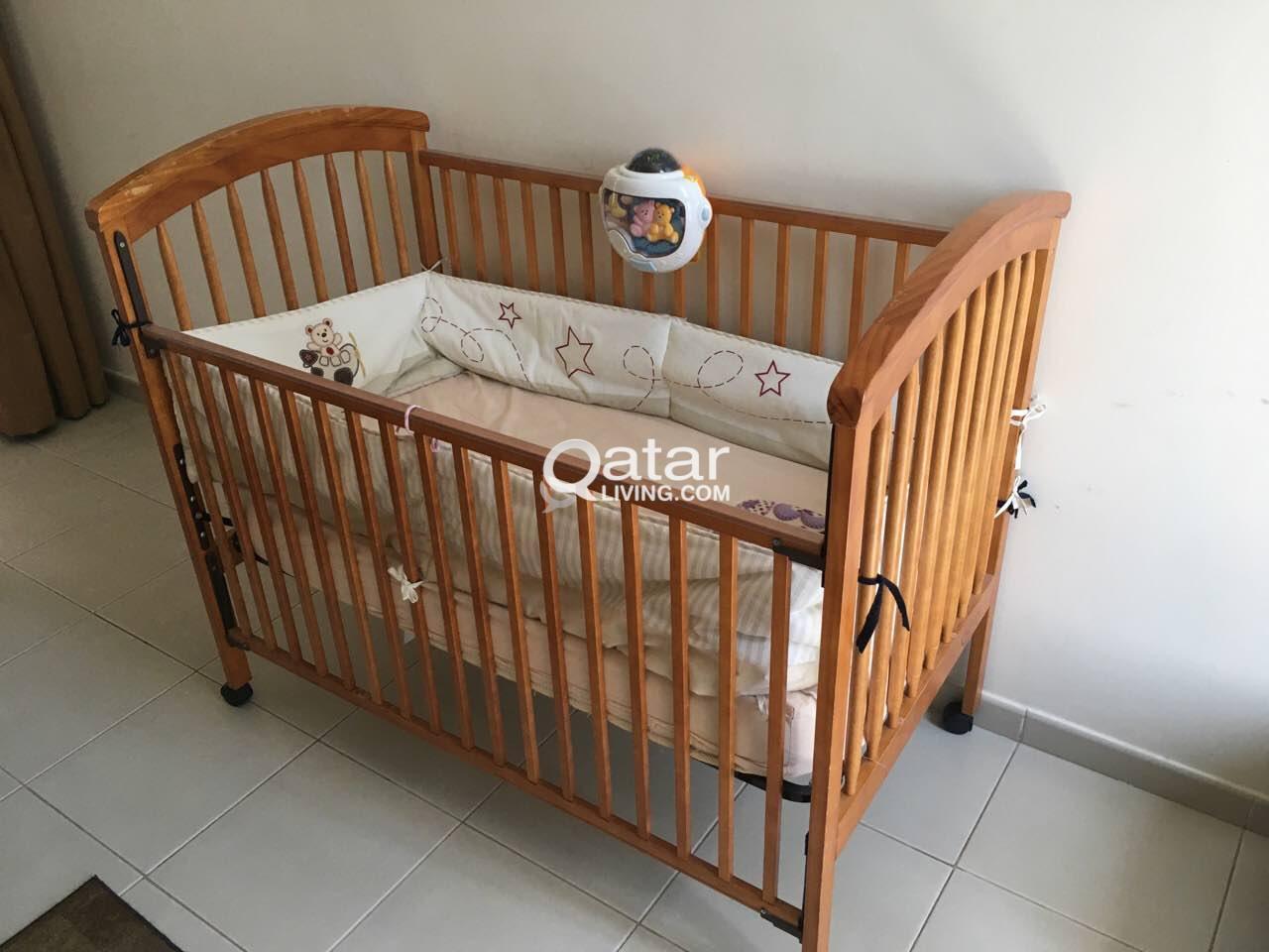 Wooden Baby Crib With Mattress Juniors Brand Qatar Living