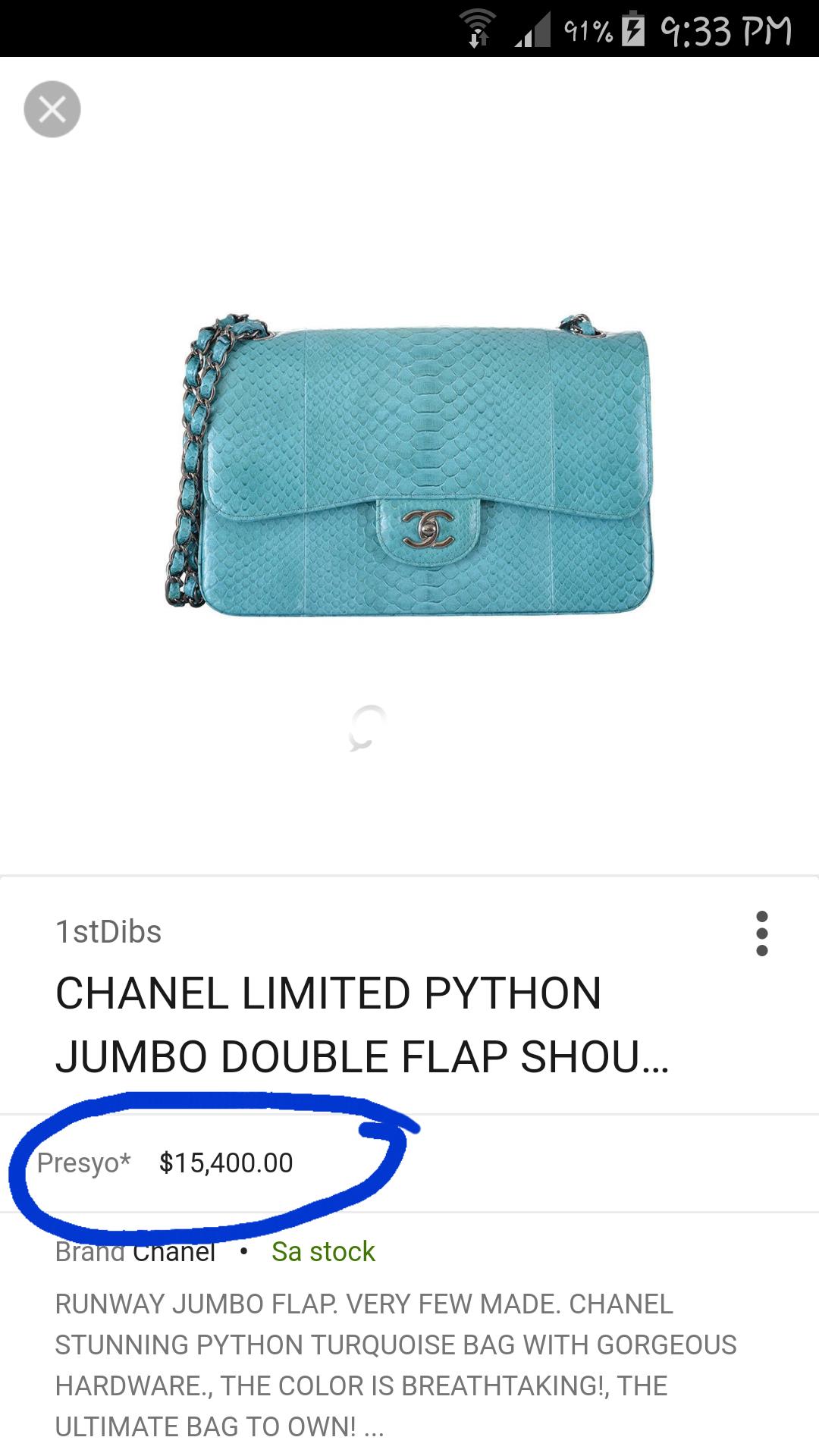 18b21fdf9c62 NEW Most Limited Chanel Python Classic Double Flap Bag Jumbo | Qatar ...