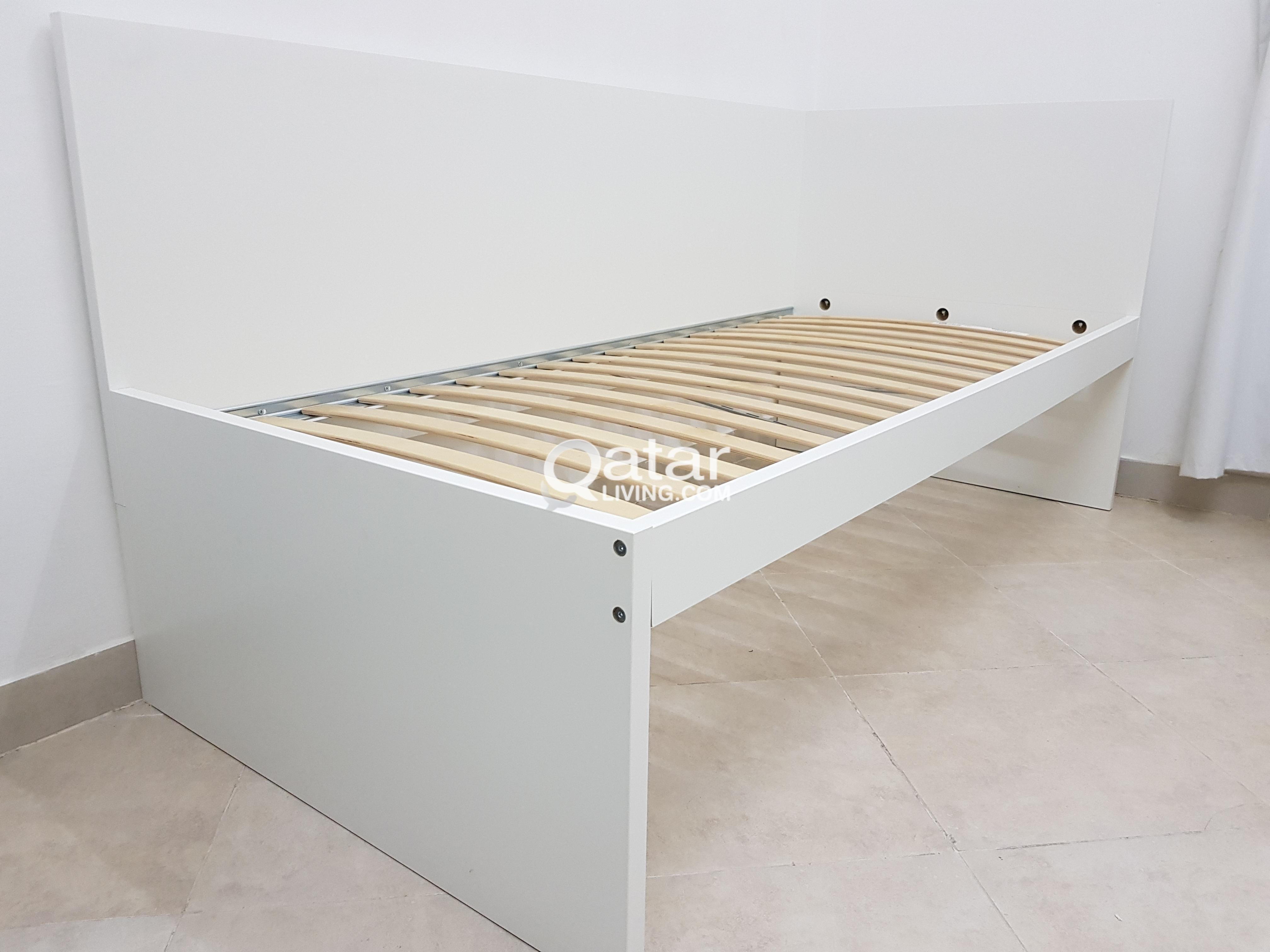 2 IKEA FLAXA Bed Frame With Head Sultan Luroy Slated Base