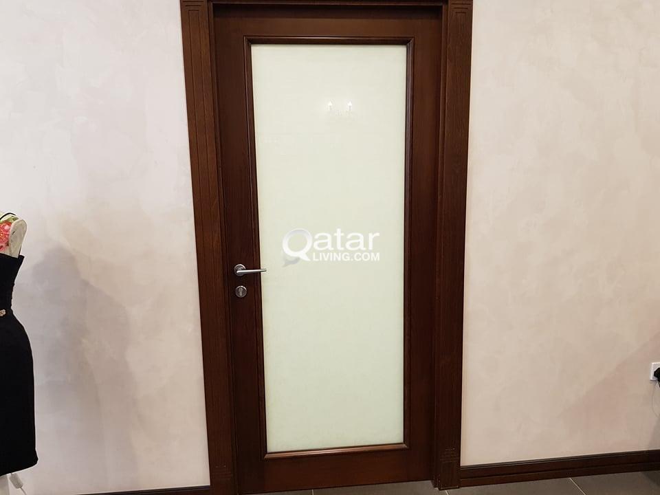 Smoke Glass Door With Solid Wood Border Qatar Living