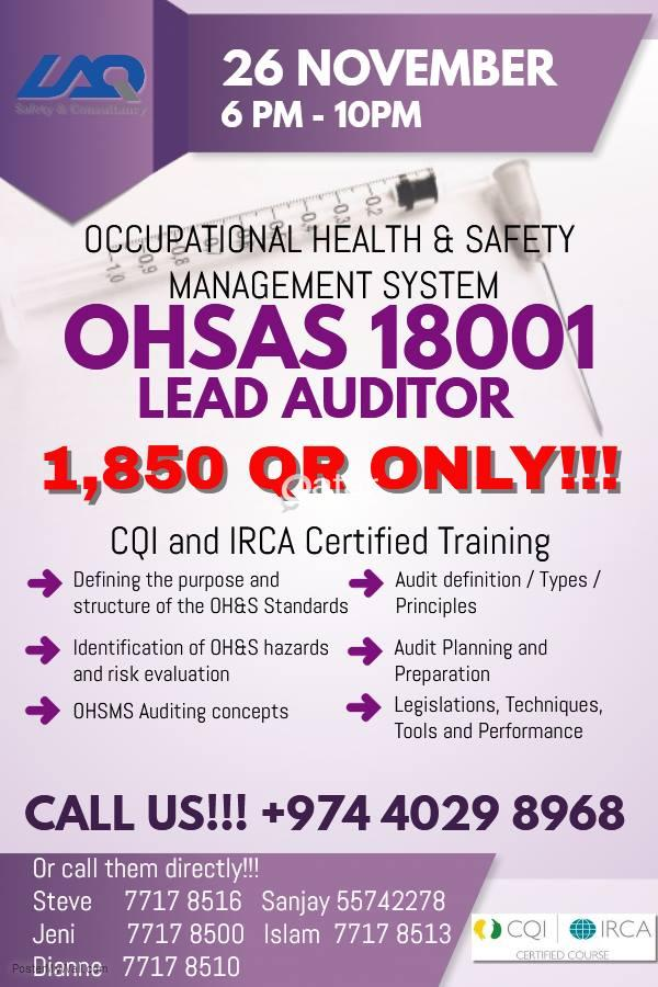 Lead Auditor OHSAS 18001 Training and Certification | Qatar Living